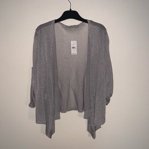 Loft Silver Metallic Draped Sweater
